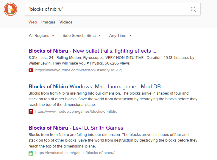 SEO for games - Search Engine Results for Blocks of Nibiru